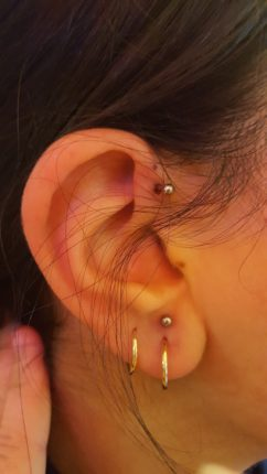forward helix & upper earlobe